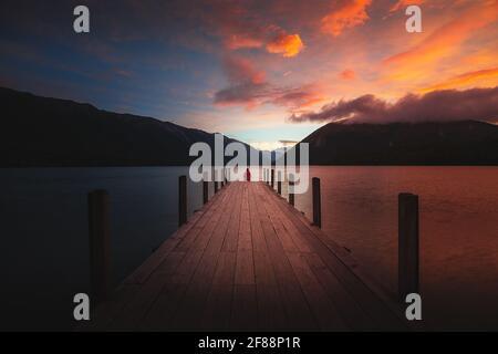 Sunset over lake Rotoiti, New Zealand