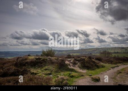One of many Bronze Age burial cairns on on Stanton Moor in the Peak District National park, Derbyshire, UK Stock Photo