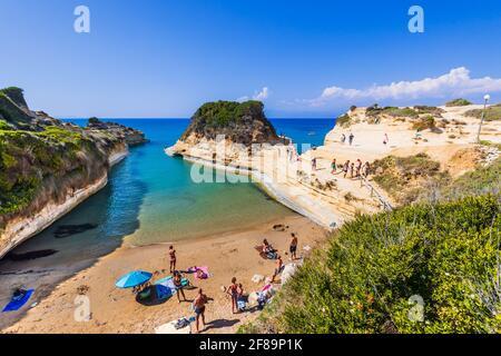 Corfu, Greece - July 24, 2020: Canal d'Amour beach with beautiful rocky coastline.