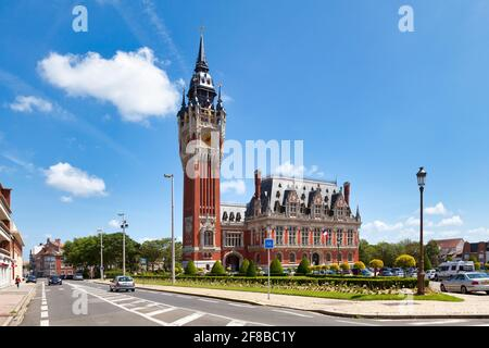 Calais, France - June 22 2020: The town hall is a building designed by the architect Louis Debrouwer, built from 1911 to 1923.