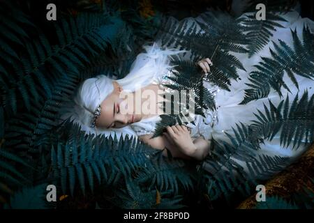 Photo of a Ethereal Mysterious Elf girl with silver long hair wearing beautiful white dress and silver tiara laying near the tree in the ferns.