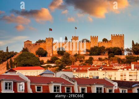View of the São Jorge Castle at sunset, Lisbon, Portugal