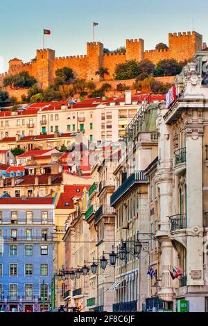 Castle of São Jorge overlooking the historical centre, Lisbon, Portugal