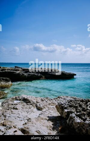 Boca Catalina Beach Aruba, rcks and clifs and blue ocean Aruba