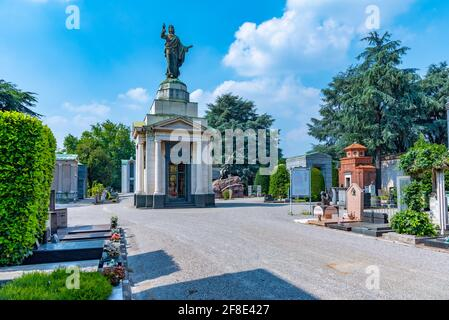 MILANO, ITALY, JULY 19, 2019: Decorated graves at Cimitero Monumentale cemetery in Milano, Italy