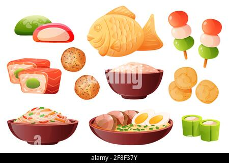Rice in bowl, soup ramen with noodles and eggs. Traditional japanese food cooked from rice. Vector cartoon set with sushi, taiyaki fish, chips, dango, wagashi and mochi isolated on white background