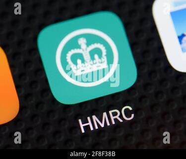 HMRC App Icon on a Smartphone, United Kingdom