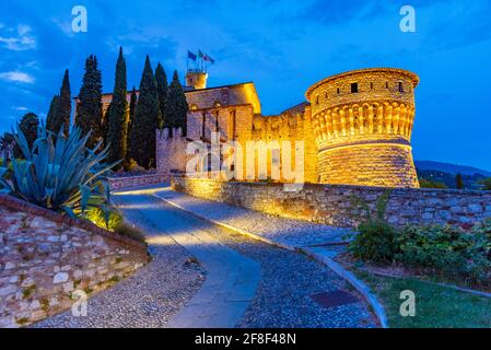 Sunset view of the Brescia castle in Italy