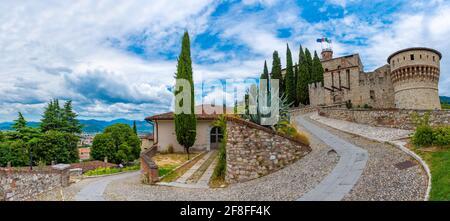 View of the Brescia castle in Italy