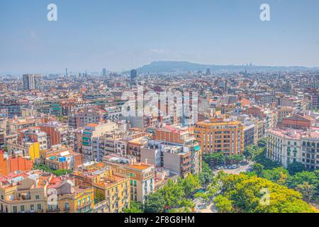 Aerial view of the ciutat vella of Barcelona from Sagrada Familia cathedral, Spain