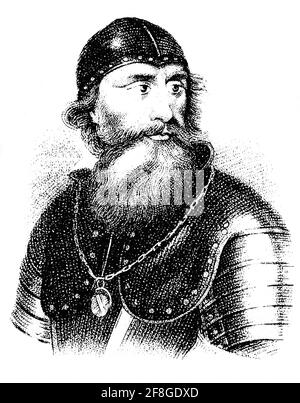 A portrait of Robert I 1274-1329), popularly known as Robert the Bruce was King of Scots from 1306 to his death in 1329. Robert was one of the most famous warriors of his generation and eventually led Scotland during the First War of Scottish Independence against England. He fought successfully during his reign to regain Scotland's place as an independent country and is now revered in Scotland as a national hero.