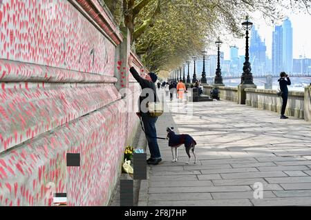 London. UK. 14th April 2021, The public continue to flock to the COVID memorial wall for the victims of the coronavirus who have passed away in the last year. St Thomas' Hospital, London