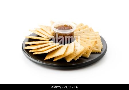 biscuit with pineapple jam on white background