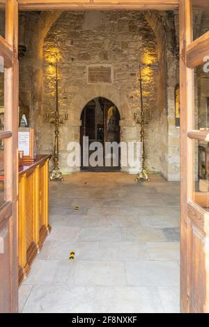December 2020. Kiti, Larnaca Cyprus. Interior of Panagia Angeloktisti or Our Lady built by Angels, 11th Century, Kiti - Stock Photo