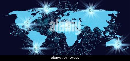 5G technology concept.World map digital background. 3D illustration
