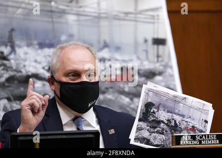 Washington, United States. 15th Apr, 2021. House Minority Whip Steve Scalise, R-La., speaks about immigration conditions on the border during a House Select Subcommittee on the Coronavirus Crisis at the U.S. Capitol in Washington DC, on Thursday, April 15, 2021. Pool photo by Susan Walsh/UPI Credit: UPI/Alamy Live News