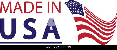 Made in usa logo design. Flag made america american states flags product badge quality patriotic labels emblem star ribbon sticker,Vector illustration - Stock Photo