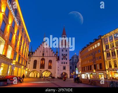 Old Town Hall at night, Marienplatz, Munich, Upper Bavaria, Bavaria, Germany, Europe - Stock Photo