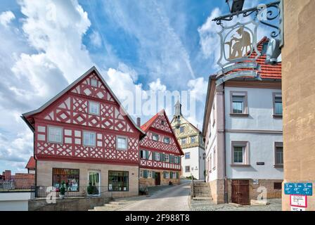 Half-timbered, town hall, shoemaker's museum, facade, old town, architecture, autumn, Burgkunstadt, Franconia, Bavaria, Germany, Stock Photo