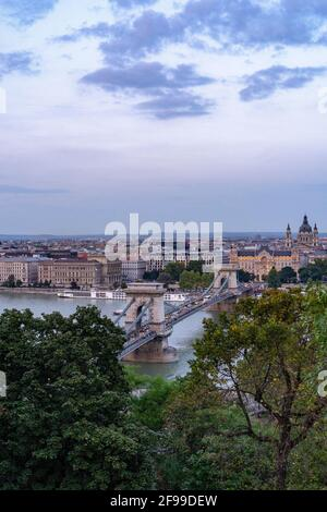 Chain Bridge over Danube in Budapest, Hungary