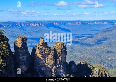 The famous 'Three Sisters' rock formation in the Blue Mountains National Park, New South Wales, Australia, looking out on the Jamison Valley