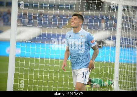 Joaquin Correa of SS Lazio Roma, Italy, 18 April, 2021 at the Lazio vs Benevento Serie A League Credit:Roberto Ramaccia/Alamy Live News