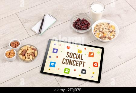 Healthy Tablet Pc compostion, social networking concept