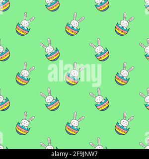 Happy Easter seamless pattern with rabbit in egg shell on green background illustration. Cute cartoon character - Stock Photo