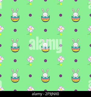 Happy Easter seamless pattern with rabbit in egg and flower shell on green background illustration. Cute cartoon character - Stock Photo