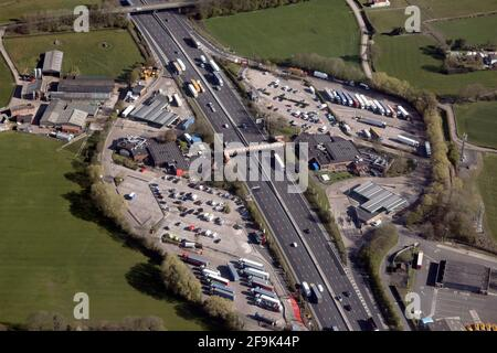 aerial view of Welcome Break Keele Services on the M6 motorway in Staffordshire (taken from the east looking west)