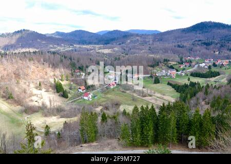 Panoramic view of Love town, small place in Croatian mountain, region Gorski Kotar - Stock Photo