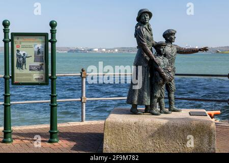 Annie Moore Statue in Cobh, Ireland. At age 15, along with her 2 brothers were the first immigrants processed at Ellis Island in New York City