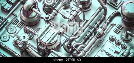 metal structure with cables and pipes in a sci-fi style. 3d render