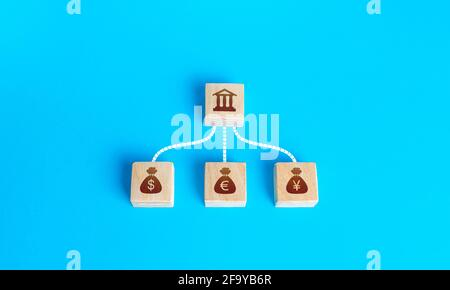 Linked blocks bank and currencies money bags. Financial system, national foreign exchange reserve concept. Attraction of credit resources on capital m