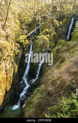 Stock Ghyll Force, a waterfall in Ambleside, Cumbria, England, UK
