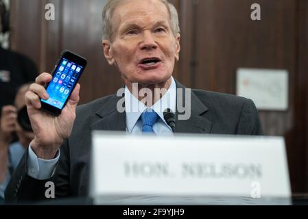 Washington, United States. 21st Apr, 2021. Former US Senator Bill Nelson, nominee to be administrator of NASA, speaks during a Senate Committee on Commerce, Science, and Transportation confirmation hearing on Capitol Hill in Washington, DC on Wednesday, April 21, 2021. Pool photo by Saul Loeb/UPI Credit: UPI/Alamy Live News