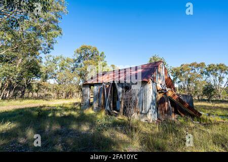 Abandoned corrugated iron shed from tin mining era, Emmaville, New England Tablelands, NSW Australia