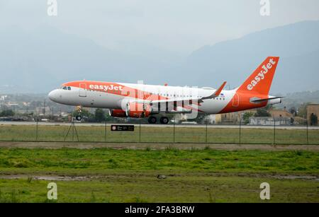 Palma de Mallorca, Spain. April 22 2021: A plane from a British company, with passengers from Germany, lands at the Son Sant Joan airport in Palma de Mallorca.