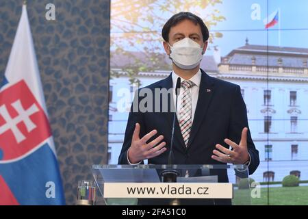 ***FILE PHOTO*** Slovak Prime Minister Eduard Heger speaks during a press conference, after meeting with Czech PM Andrej Babis, within Heger's visit of the Czech Republic, on April 15, 2021, at the Government Office in Prague, Czech Republic. (CTK Photo/Michaela Rihova)