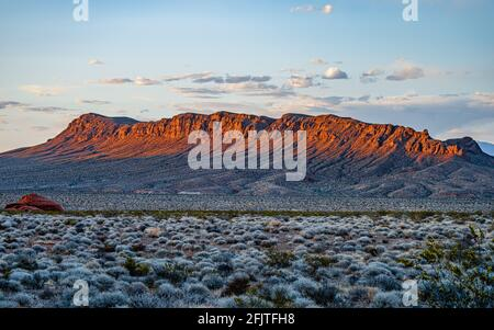 Sunset on a mountain range in the Valley of Fire State Park in Southern Nevada near Las Vegas.