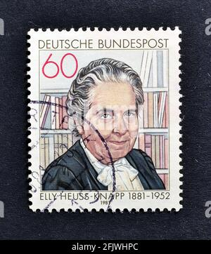 Cancelled postage stamp printed by Germany, that shows German politician Elly Heuss-Knapp (1881-1952), circa 1981.