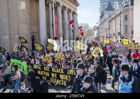 2021, 17th April : Thousands of protesters march and rally in central London against the police, crime, sentencing and courts bill that will restrict the democratic right to protest.