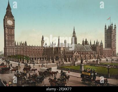 The Houses of Parliament in London, circa 1890-1900