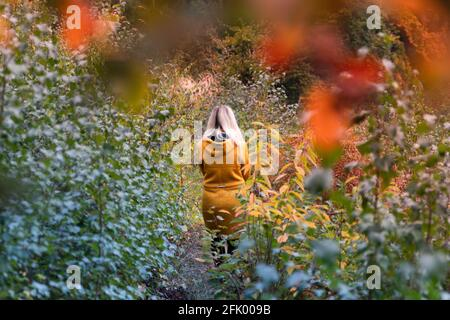 Blonde woman in yellow jacket walking through a forest clearing overgrown with fern