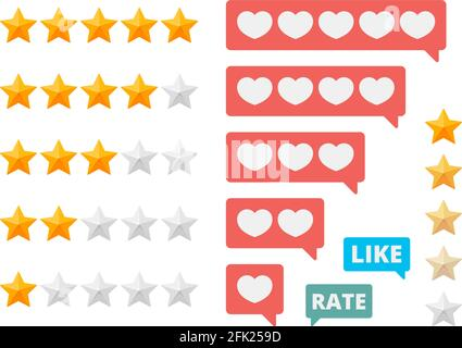 Rating stars. Social assessment scores likes hearts vector symbols