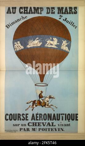 A vintage poster for a race with horses suspended from hot air balloons