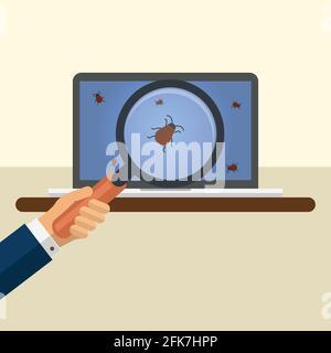 Hand holding a magnifying glass with bugs on a laptop screen - Stock Photo