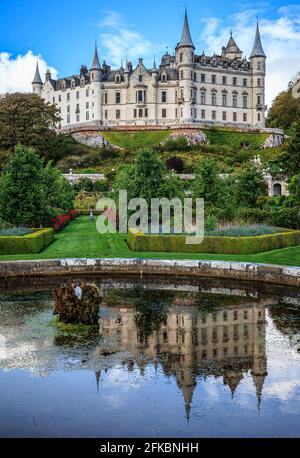 Dunrobin castle Golspie in the Scottish highlands is a fine example of a French chateau style castle. Scotland UK.
