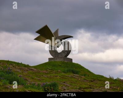 ICELAND, BORGANES - JULY 04, 2009: The Brakin Monument in Borganes