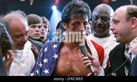 USA. Sylvester Stallone  in a scene from (C)MGM/UA film: Rocky IV (1985). Plot: Rocky Balboa proudly holds the world heavyweight boxing championship, but a new challenger has stepped forward: Drago, a six-foot-four, 261-pound fighter who has the backing of the Soviet Union.  Ref:  LMK110-J7060-260421 Supplied by LMKMEDIA. Editorial Only. Landmark Media is not the copyright owner of these Film or TV stills but provides a service only for recognised Media outlets. pictures@lmkmedia.com
